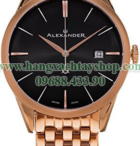 Alexander-A911B-06-Heroic-Sophisticate-Black-Dial-Rose-Gold-Plated-Stainless-Steel-Bracelet-Swiss-hangxachtayshop