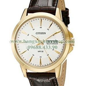 Citizen BF2018-01A Gold-Tone Stainless Steel Watch with Brown Leather Band-hangxachtayshop