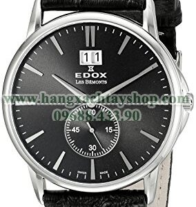 Edox 64012 3 NIN Les Bemonts Stainless Steel Watch With Black Leather Band-hangxachtayshop