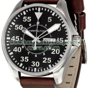 Hamilton H64611535 Khaki King Pilot Black Watch with Brown Leather Band-hangxachtayshop