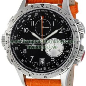 Hamilton H77612933 Khaki Field Stainless Steel Chronograph Watch with Orange Leather Band-hangxachtayshop