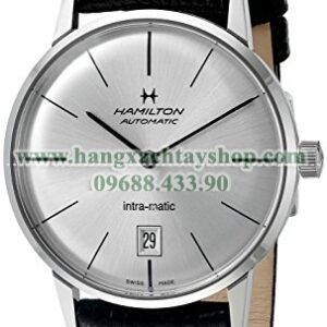 Hamilton Intra-Matic Silver Dial Leather Mens Watch H38455751-hangxachtayshop