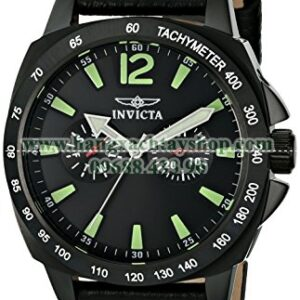 Invicta 0857 II Collection Stainless Steel and Black Leather-hangxachtayshop