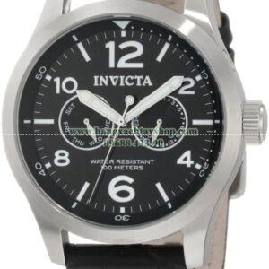 Invicta Nam 0764 II Collection Black Dial Black Leather Watch-hangxachtayshop