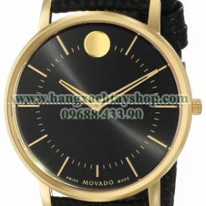 Movado 0606847 Movado TC Gold-Plated Stainless Steel Watch with Black Leather Band-hangxachtayshop