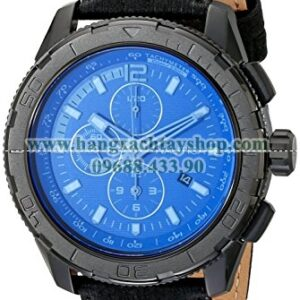 Nautica NAD21504G NST 101 Black Stainless Steel Watch with Leather Band-hangxachtayshop