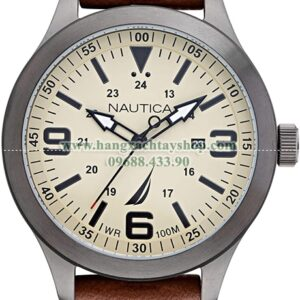 Nautica Point Loma Stainless Steel Japanese Quartz Watch with Leather Strap-hangxachtayshop