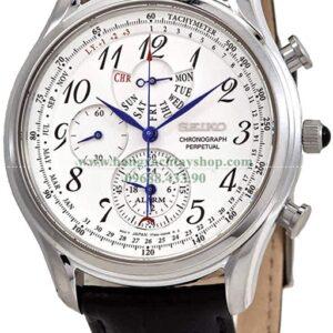 Seiko Chronograph Perpetual Alarm Quartz White Dial Watch SPC253P1-hangxachtayshop