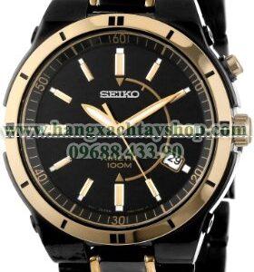 Seiko nam SKA366 Kinetic Black Ion Watch-hangxachtayshop