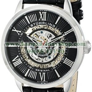 Stuhrling Original 696.02 Legacy Skeleton Watch with Black Leather Band-hangxachtayshop
