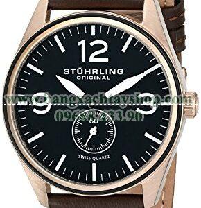 Stuhrling Original 931.03 Aviator Swiss Quartz Seconds Subdial Rose Tone Brown-hangxachtayshop