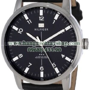 Tommy Hilfiger 1710330 Stainless Steel and Black Leather-hangxachtayshop