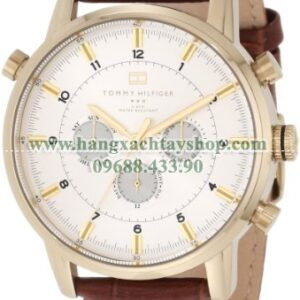 Tommy Hilfiger nam 1790874 Gold-Plated and Brown Croco Leather Strap-hangxachtayshop
