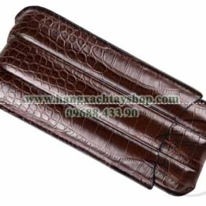 3-Finger-Brown-Crocodile-Leather-Travel-Case