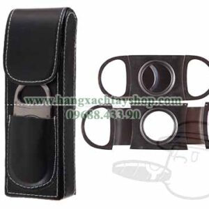 Black-Leather-2-Finger-Cigar-Case-With-Stainless-Steel-Cutter