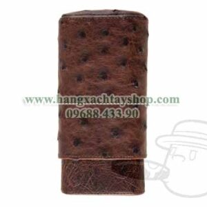 The-Show-Band-3-Cigar-Case-GenuineOstrich-Antique-Saddle